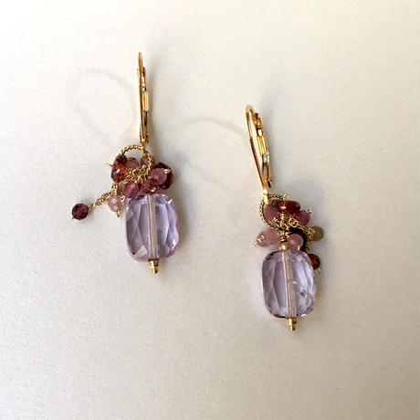 "bouquet pierce & earrings ""Pink and Purple """