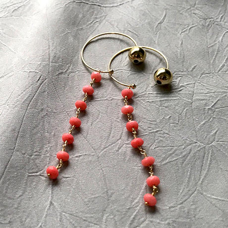 Hoop Pierced Earrings - Pink Coral