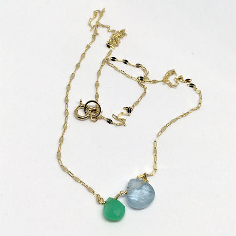 Chrysoprase & Aquamarine K10 Necklace
