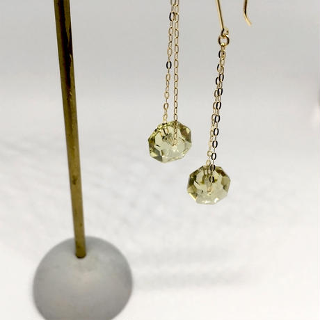 Lemon Quartz & K10YG Pierced Earrings