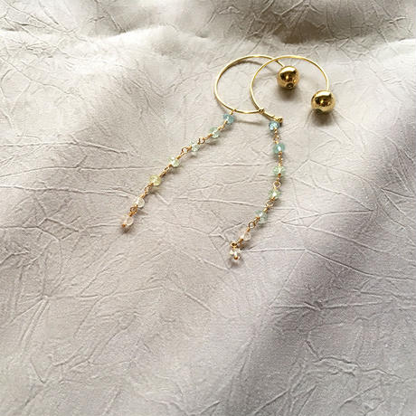 Hoop Pierced Earrings - Aquamarine