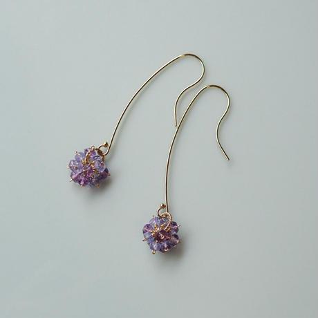 Hydrangea Pierced Earrings -Purple