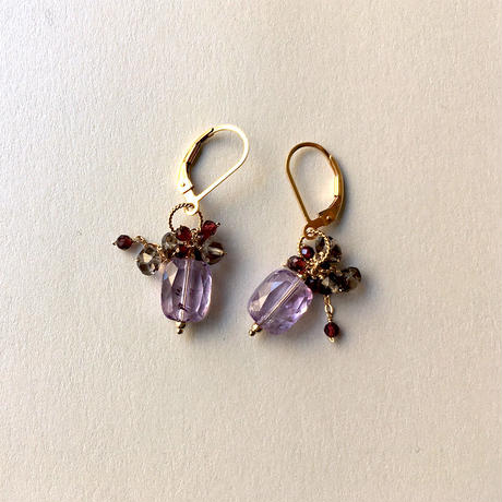 "bouquet pierce & earrings ""Deep Purple """