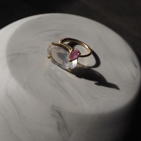 Atlica  Milky quartz + sapphire ring
