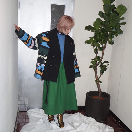 MINJUKIM heart lapel half coat - print -