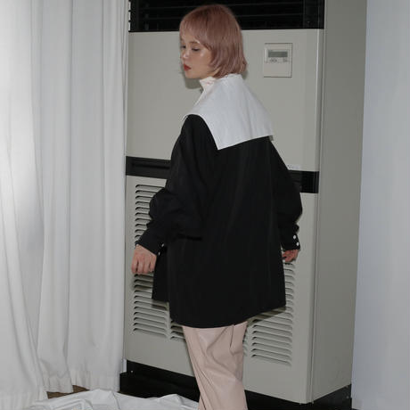 MINJUKIM  cutting collar blouse - black -