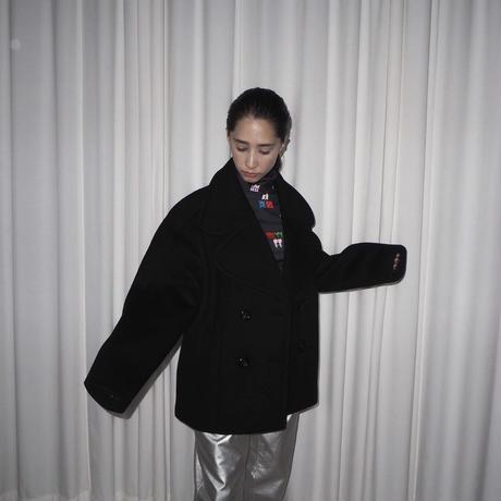 MINJUKIM heart lapel half coat -  black -