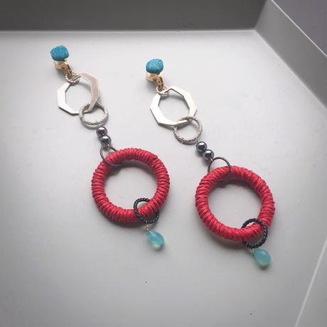 pono'i Raffia earring(orange )(red)