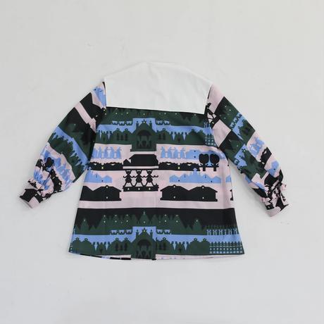 MINJUKIM  cutting collar blouse - print -