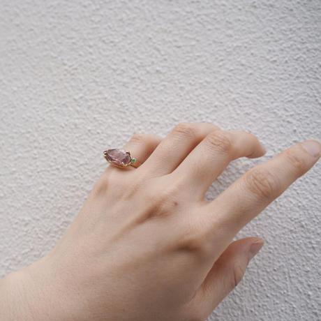 Atlica Goethite in quartz + tourmaline pinky ring