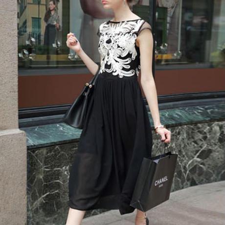 ドレス ワンピース フォーマル シースルーブライダル ブラック YMSW0180