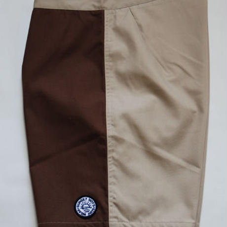 SUNSET1970'S SURF WEARS/ SUNSET BOARD SHORTS / BEIGE & BROWN & BEAGE