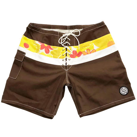SIDE SLIP SHORT / BROWN FLOWER BAND