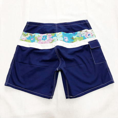 SIDE SLIP SHORT / NAVY FLOWER BAND