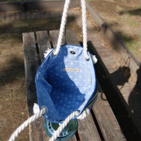 リクガメマリン柄のロープバック(小・ブルー)