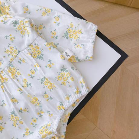 ボンネット付きミモザカラーフリル襟ロンパース(1593)