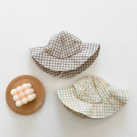 サマーチェック帽子+サロペット+シャツコーデセット(1604)