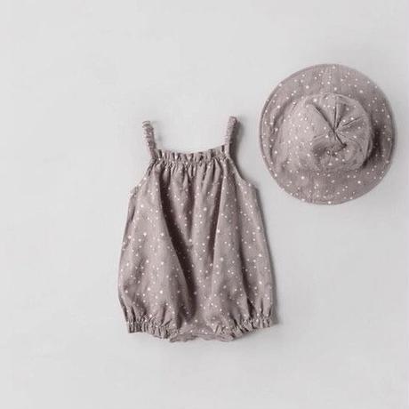 帽子付き星柄編み込みキャミロンパース(305