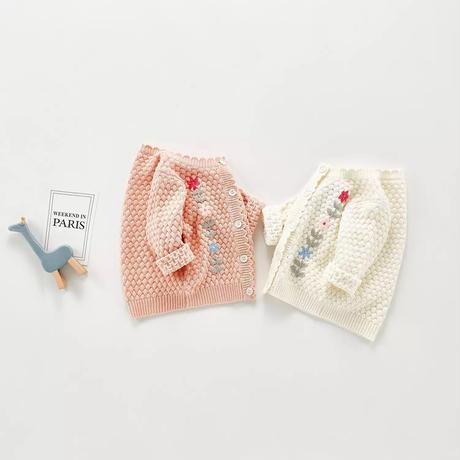 即納あり✩手編みフラワー刺繍カーディガン(1326)