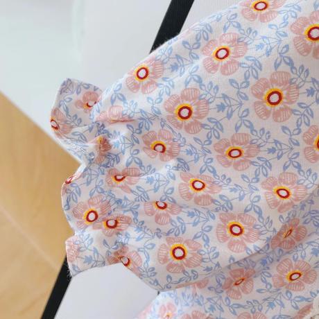 花柄スクエアレースロンパース(1705)