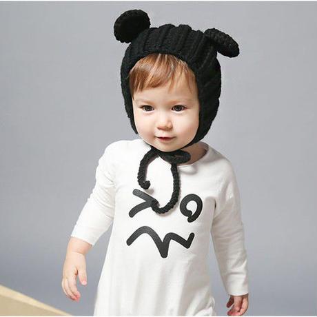 手編みくま耳ニット帽(556)