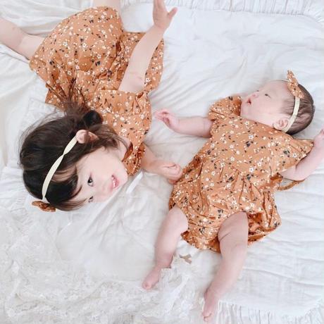 姉妹マスタード小花柄ワンピ&ロンパース(780)