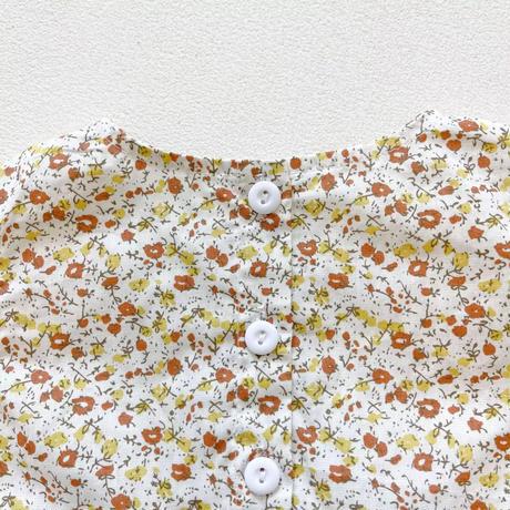 レースボンネット付きヴィンテージ小花柄ロンパース(1701)