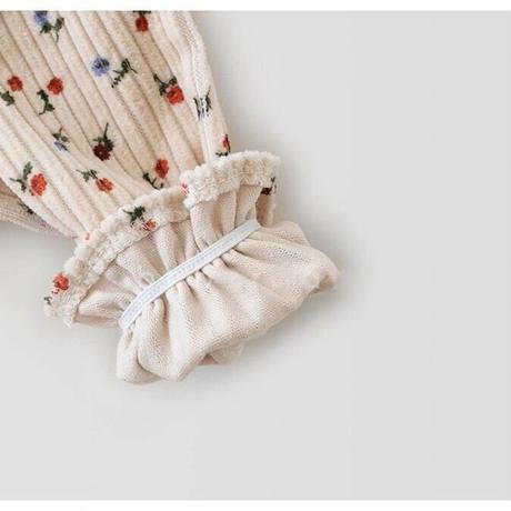 即納あり✩ピンク襟花柄コーデュロイロンパース(1471)