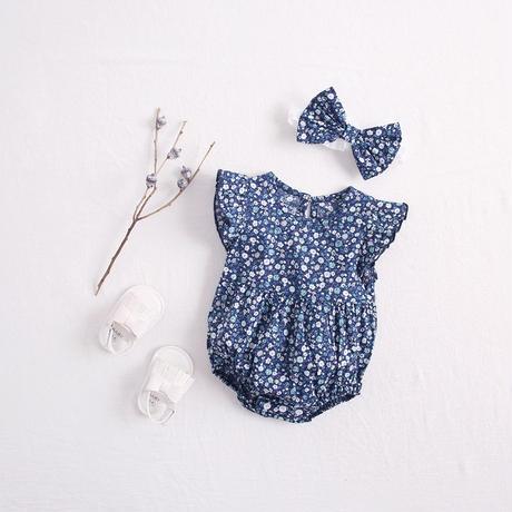 リボン付きブルー花柄ロンパース(716)