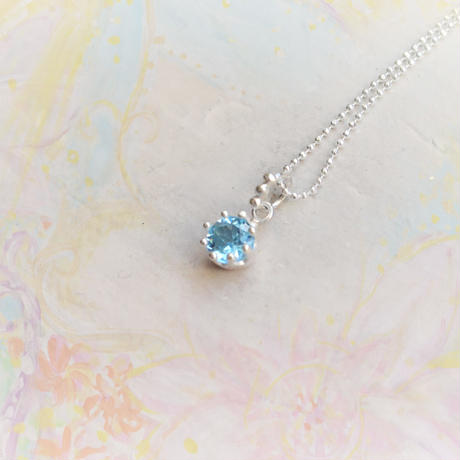 Milk Crown Necklace -BlueTopaz/Cat -