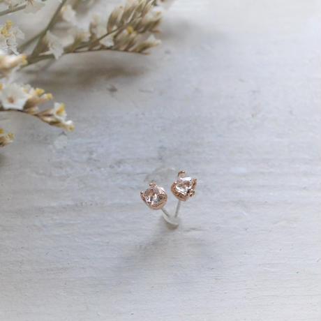 Semi Only One!Herkimer Diamond K10PG Pierced-67-