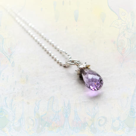 Tear Drop Necklace -Amethyst 5×8mm-