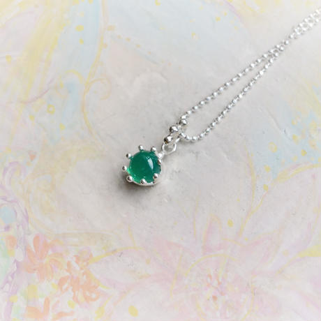 Milk Crown Necklace -Green Agate-