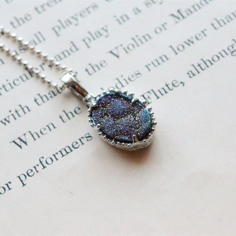 New Only One!  Silver Druzy Agate Necklace -女神の翼-