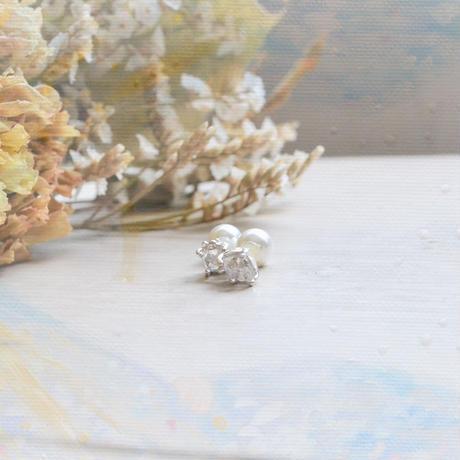 Only One!Water spiritual Pierced-88-/Herkimer Diamond SV925/2WAYPearl catch