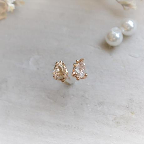 Only One!Herkimer Diamond K10YG スタッドピアス/2WAYパールキャッチ