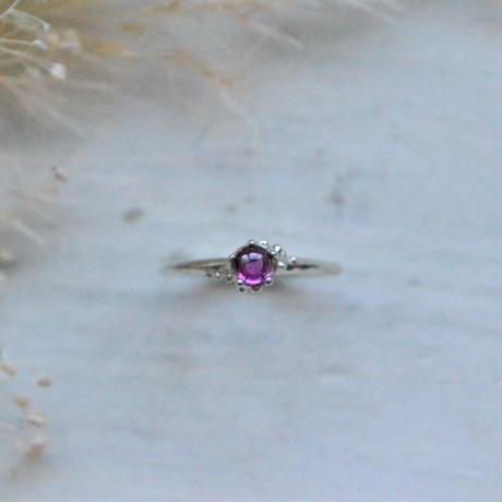 ふるふる『光の滴』Ring-愛とひとつ-Clown Type/  Iiolite,Rose-quartz,Rhodorite Garnet,Pink Coral