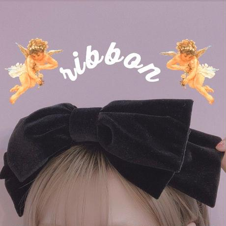 【5324】ベロアリボンカチューシャ