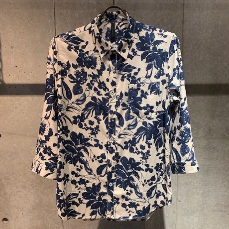 【Custom Culture】ボタニカルプリント七分袖シャツ ホワイト