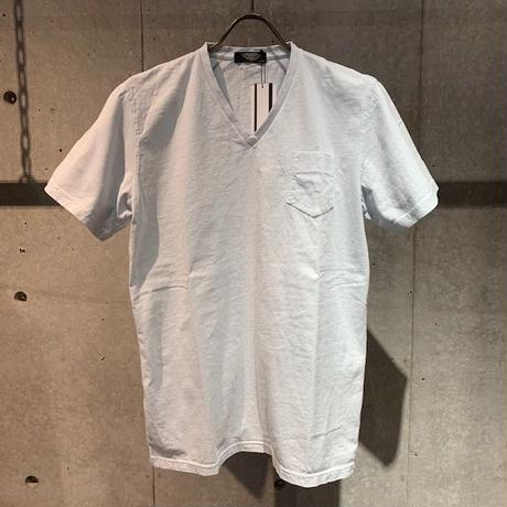 【PAZZO】製品染め VネックTシャツ サックス