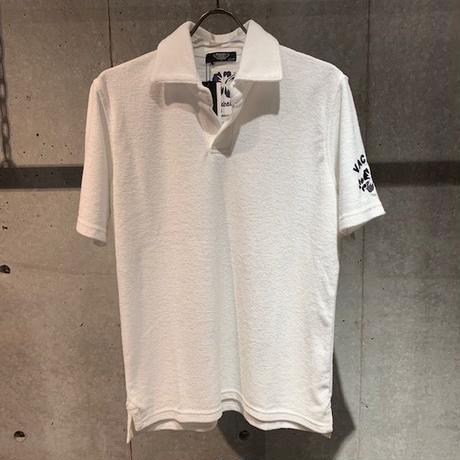 【PAZZO】ハイビスカス刺繍  パイルスキッパーポロシャツ ホワイト