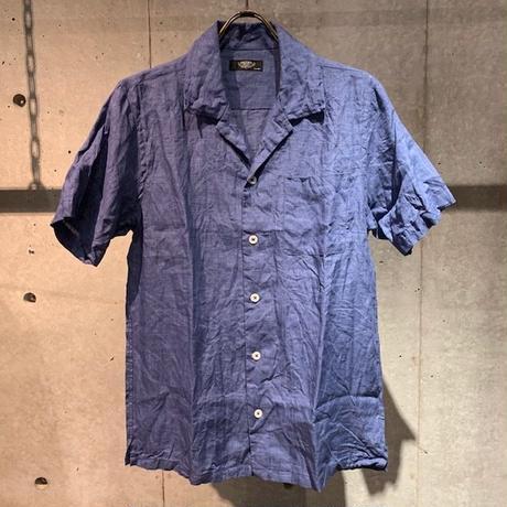 【PAZZO】フレンチリネンワッシャーシャツ ブルー