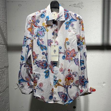 【GANESH(ガネーシュ)】パターンデザインシャツ ホワイト