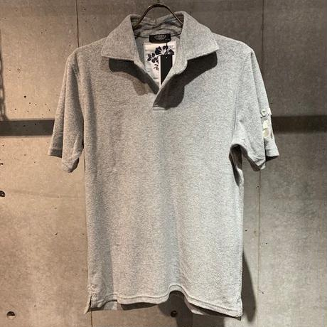【PAZZO】ハイビスカス刺繍  パイルスキッパーポロシャツ グレー