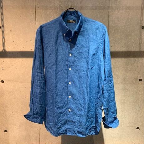 【PAZZO】リネン長袖シャツ ブルー