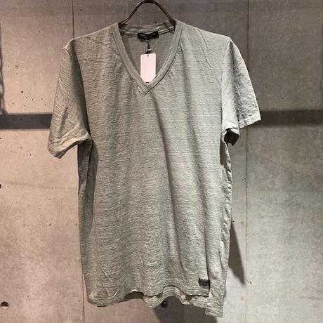 【Custom Culture】リネン天竺シルケット VネックTシャツ カーキ