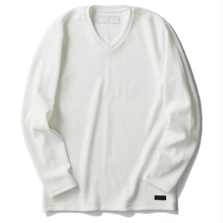 【CUSTOM CULTURE】  プレーティングストライプ VネックロングスリーブTシャツ