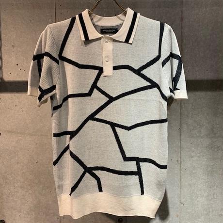 【Custom Culture】ランダムライン ジャガードポロシャツ ホワイト
