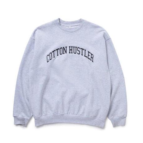 "COTTON HUSTLER ""WORD"" CREW SWEAT embroidery HEATHER GRAY"