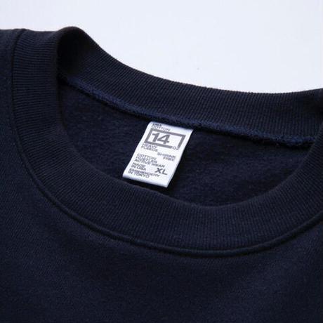 "COTTON HUSTLER ""WORD"" CREW SWEAT embroidery NAVY"